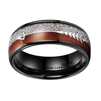 8mm Silver Titanium White Silk Wood Grain Arrow Ring 3