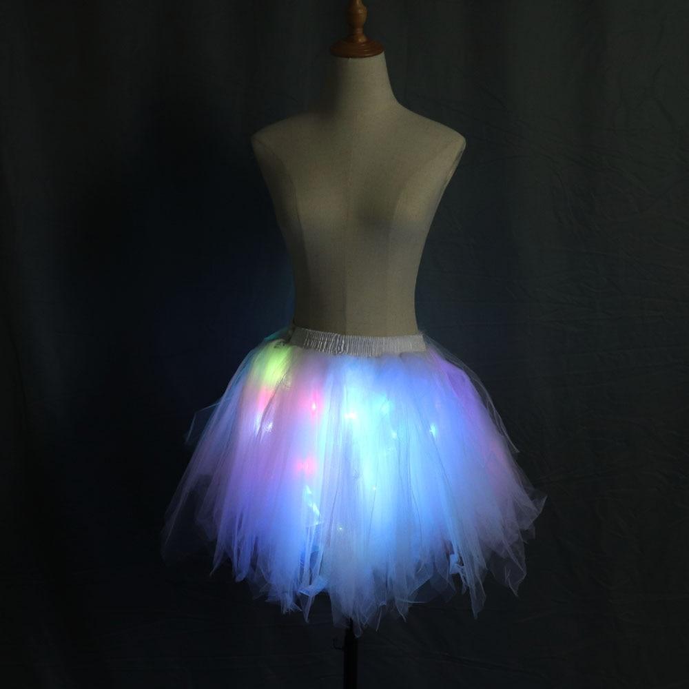 Fashion LED Tutu Skirts Women Tulle Skirt Dancing Rave Evening Club Mini Skirt Women Sexy Skirt