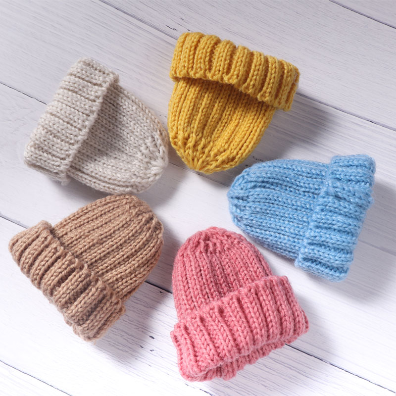 2Pcs 10x14cm Knitting Mini Pompon Hats DIY Craft Suppliers Headwear Brooch Crochet Toys Jewelry Accessory Small Caps Components
