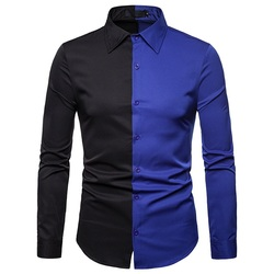 Мужская рубашка с цветными блоками в Звездном стиле, модная мужская Повседневная рубашка с длинным рукавом и отложным воротником на весну и...