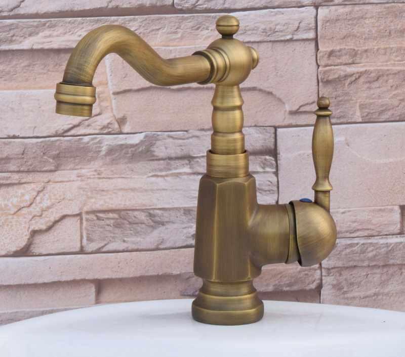 Retro Vintage Antique Brass Cozinha Wet Bar Banheiro Navio Torneira Da Pia Bica Giratória Torneira Misturadora Único Furo Um Punho mnf249