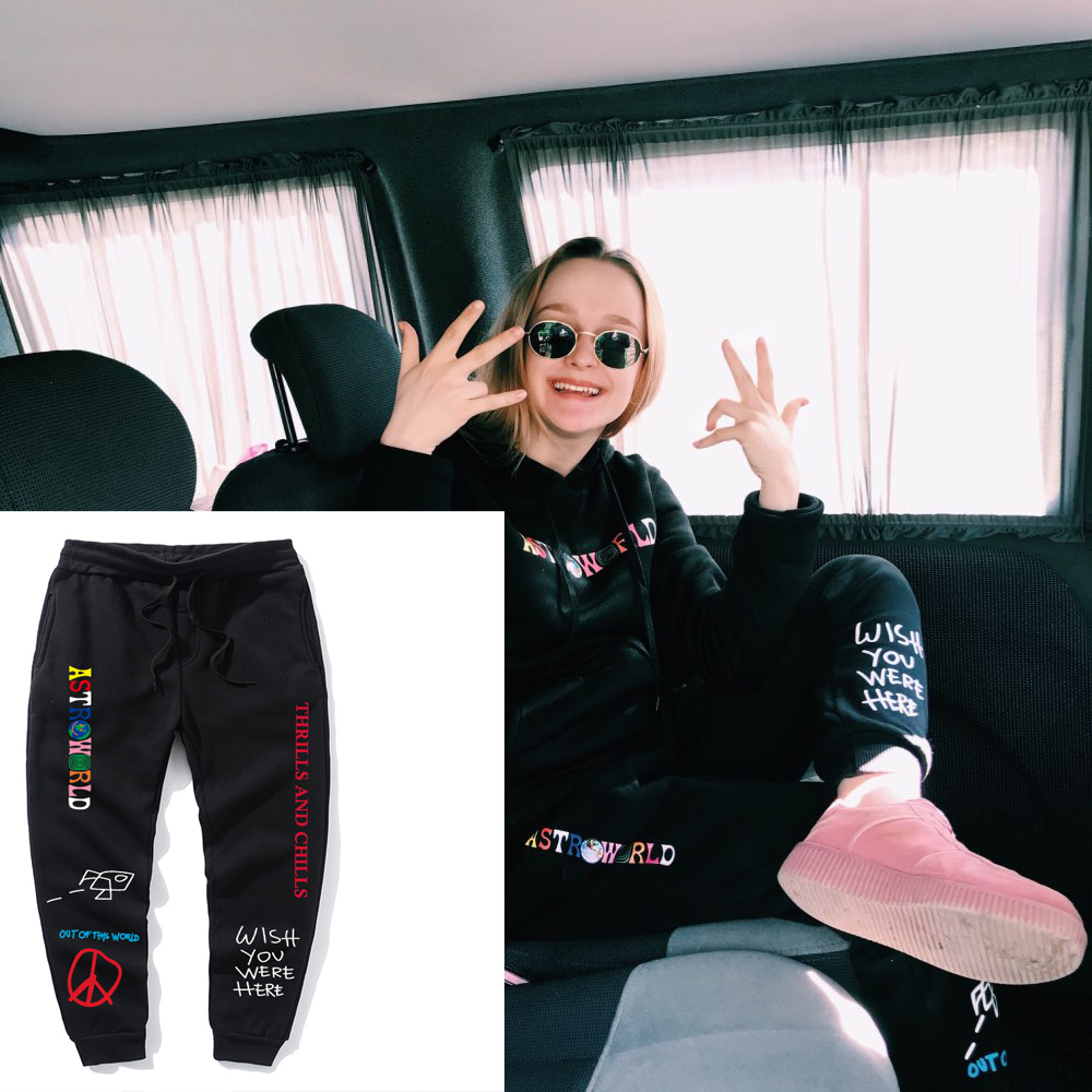 NEW Quality Fleece Trousers TRAVIS SCOTT ASTROWORLD  Letter Printed Women Men Jogging Pants Hip Hop Streetwear Men SweatpantS