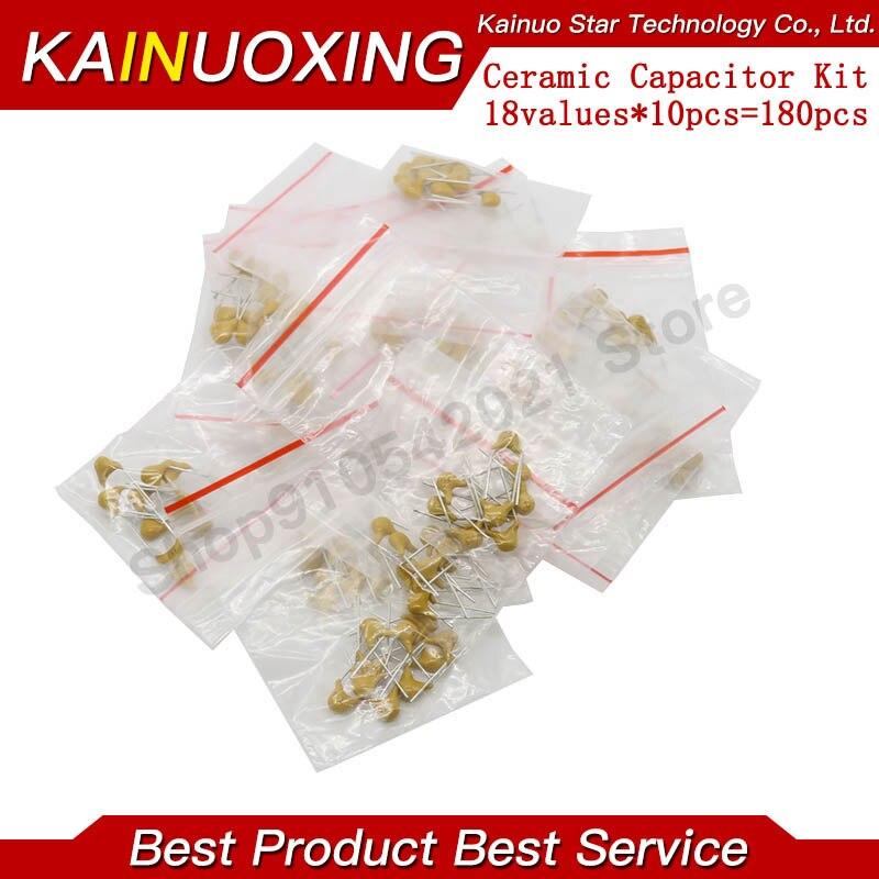 18 valores * 10 Uds = 180 Uds. Condensador cerámico monolítico 20pF ~ 1uF, Kit surtido de condensadores cerámicos