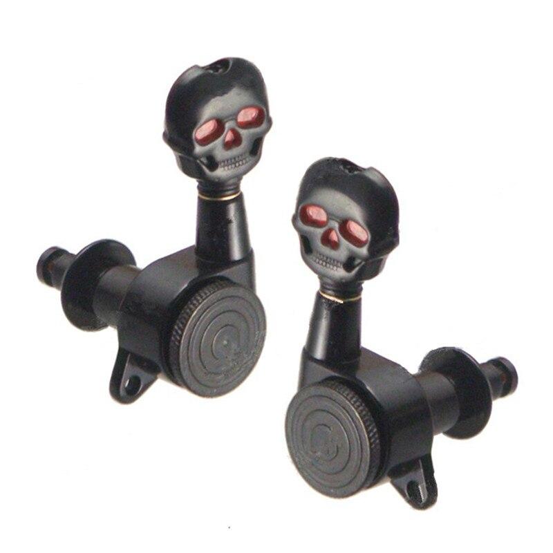 3R3L noir verrouillé chaîne guitare Tuning chevilles clés accordeurs têtes de Machine pour acoustique électrique guitare Folk pièces crâne tête bouton