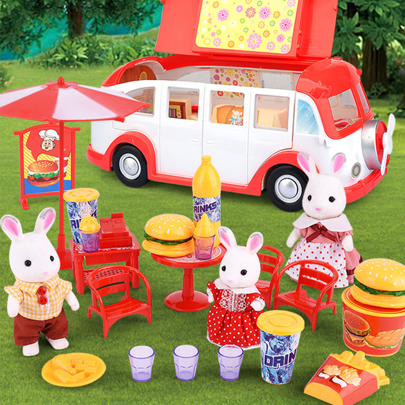 Forest Animal Family  Villa  Action Figures Toy  Forest Animal Family  Doll Field Forest Home Dining Car Scene Kids Toy Gift