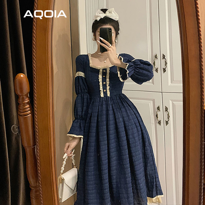 2021 Spring Lace Women Dress Lolita Style Sweeter Long Sleeve Square Collar Dresses Latern Sleever Cute Cosplay Ladies Dress-3