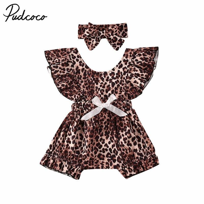Leopard Floral Headband 2pcs Lovely Baby Soft Leopard Print T-Shirt Top Romper
