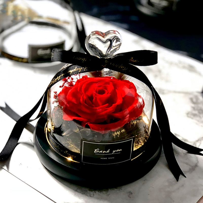 Artificial Flowers Eternal Rose With Glass Cover Beauty Romantic Rose Valentine's Gifts Christmas Gift Holiday Gifts