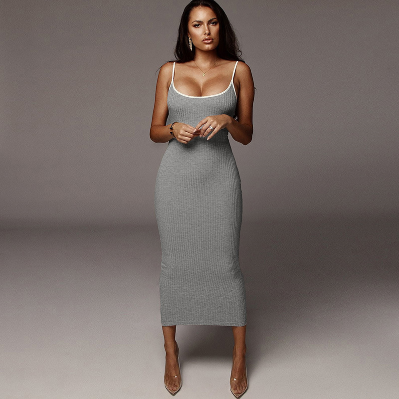 Spaghetti Strap Knitted Dress <font><b>Sexy</b></font> Women Backless Bodycon Slim Solid Pencil Dress Streetwear Party <font><b>Festival</b></font> Dresses <font><b>Outfits</b></font> image