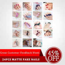 New 24pcs Matte Fake Nails Colorful Coffin Nails Full Cover Frosted Press On Nails Artificial Nail Tips For Nail Art DIY nail art wine red fake nail full cover matte false nails short head soft pure color frosted artificial tips