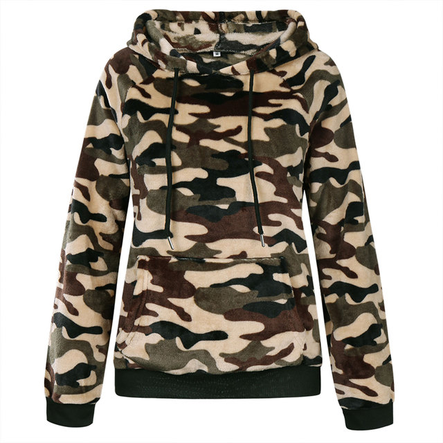 Casual Hoodies, Long Sleeve Front Pocket Drawstring Leopard/camo 6