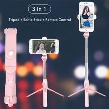цена 3 in 1 Wireless Bluetooth Selfie Stick for iPhone Huawei Android Foldable Handheld Monopod Shutter Remote Self Timer Mini Tripod онлайн в 2017 году