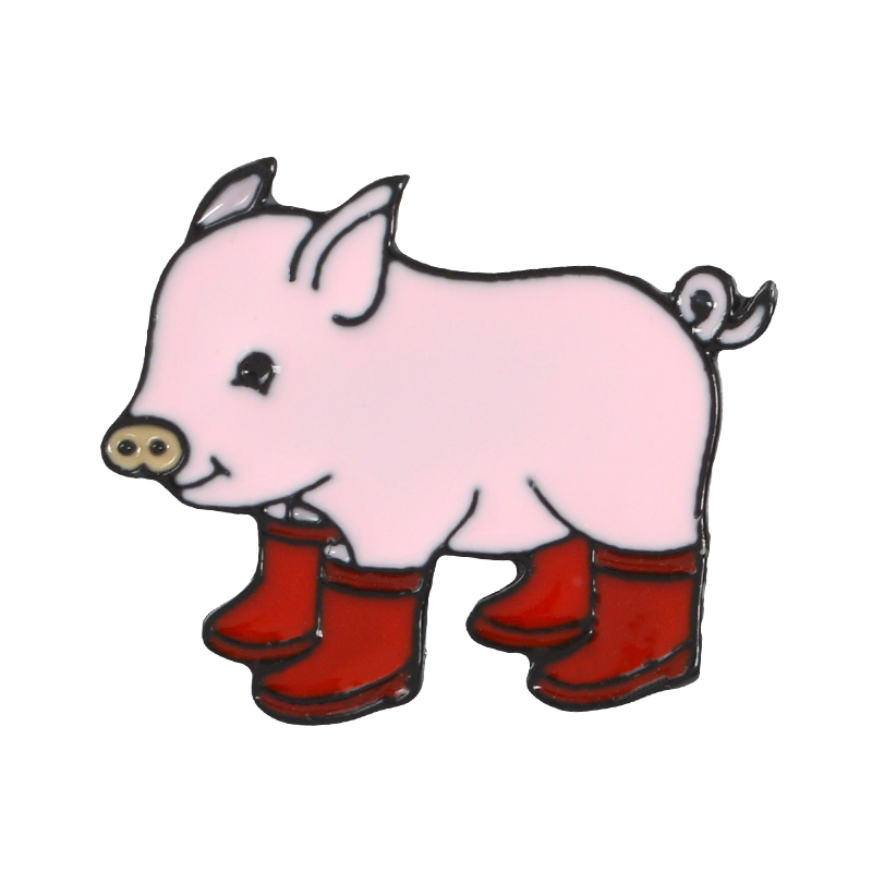 Fun Pig With Rain Boots Enamel Pins Piggy Brooches Badge Denim jeans Lapel Pin Cartoon Cute Animal Jewelry Gift for kids friends in Brooches from Jewelry Accessories