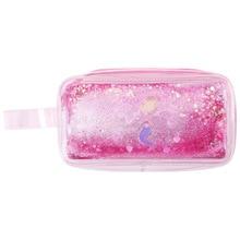 Cute PVC Pig Pencil Case Colorful Transparent Quicksand Girl Pen Bag Creative Korean Mermaid Stationery School Supplies Pouch