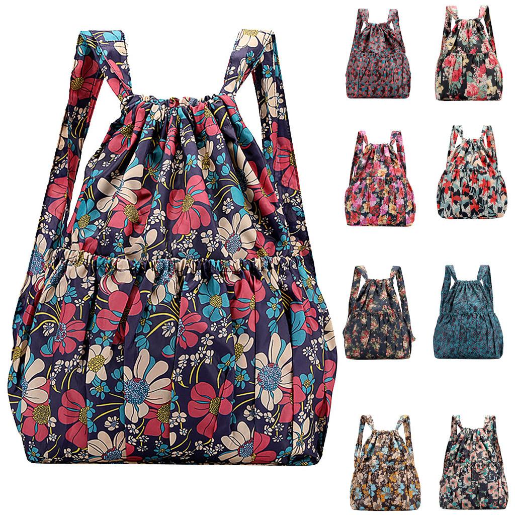 2021 Fashion Vinatge Drawstring Backpacks Women Large Capacity Flower Ethnic Style Waterproof Nylon Rucksack Shoulders Backpacks