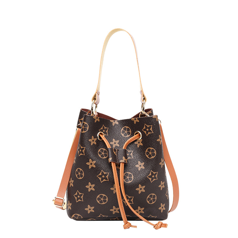 Women Handbag Hand Held Messenger Bag 2020 New Printed Flower Color Contrast Small Bucket