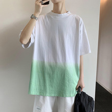 Summer Dress New Style Small Fresh Gradient Tie-dyed Short-sleeved T-shirt with Loose Personality for Men
