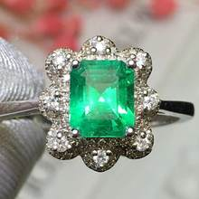 Fine Jewelry Real Pure 18K Gold Colombia Natural Emerald 1.04ct Gemstone Diamonds Jewellery Female's Rings for women Fine Ring(China)