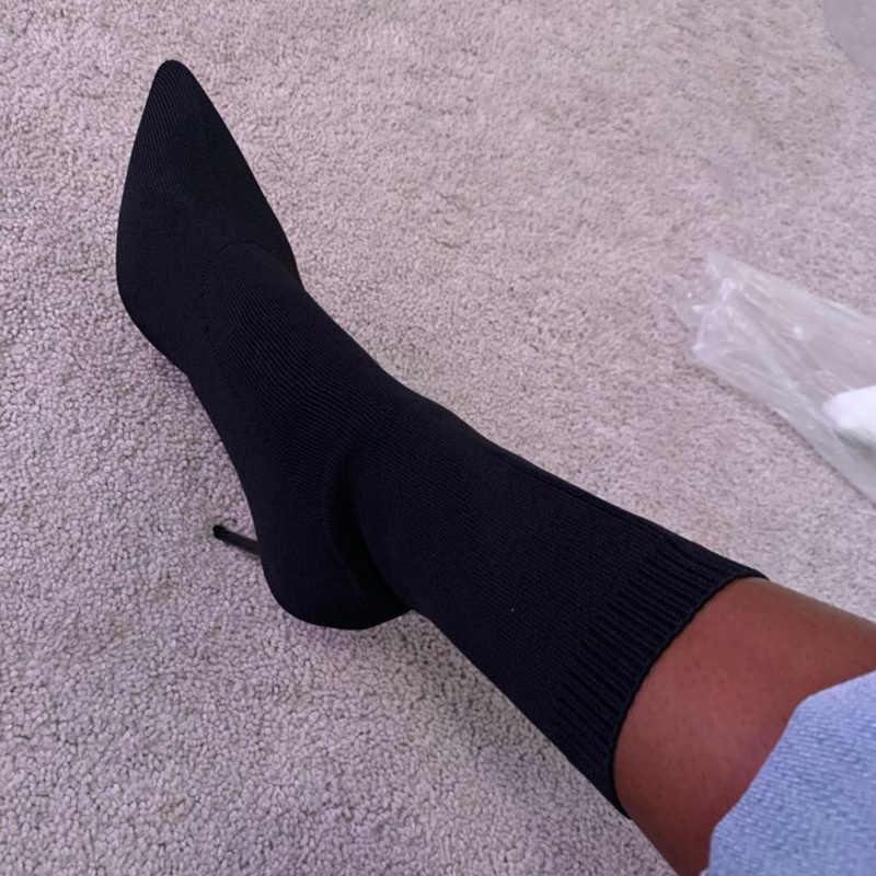 2020 herbst Luxus Frauen Beige Socke Stiefel Exotic Dancer High Heels Stiletto Stiefel Winter Mode Stretch Stoff Stiefel Plus Größe