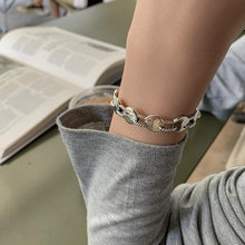 XIYANIKE – Bracelet rond en argent Sterling 925 pour femme, bijou de marque rétro, tendance coréenne, prévention des allergies