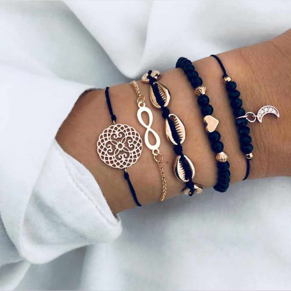 5PCS/Set Infinite Shell Openwork Flower Bead Chain Moon Heart Pendant Bead Bracelet for Women Girls Hand Accessories Gift