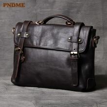 PNDME роскошный высококачественный мужской портфель из воловьей кожи, сумка для компьютера, деловая винтажная мягкая сумка-мессенджер из натуральной кожи, сумка