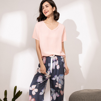 Summer Pajamas Set Women Sleepwear Female Casual Floral Printed Contrasting Color Pyjamas Tops with Long Trousers Home Clothing 4