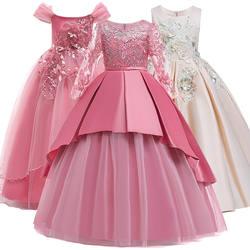 Девушка Нарядные платья Платье для первого причастия детская Свадебная вечеринка платье для дня рождения для девочек кружева лепесток