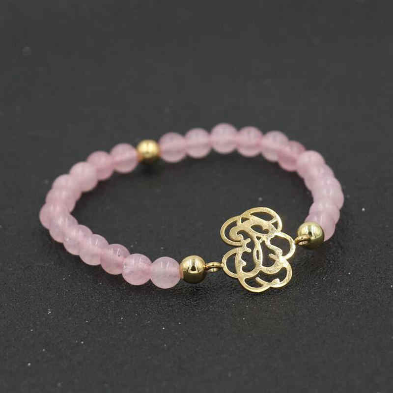 Women Natural Pink Stone Beads Bracelet Gold Silver Color Stainless Steel Animal Strand Bracelets Girl Jewelry
