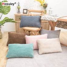 Rectangle Flannel Cushion Cover 30x50cm Fall Winter Decorative Plain Solid Color Stripe Throw Pillow Covers for Sofa Living Room