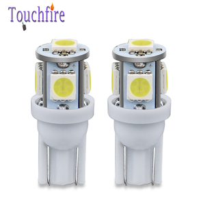 Image 1 - 100PCS 5LED Car Bulb T10 194 W5W 5050 SMD Parking Dome Signal Side lamp trunk White Blue Yellow Light 12V wholesale Dropshiping
