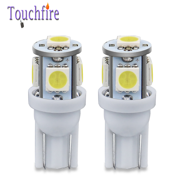 100PCS 5LED Car Bulb T10 194 W5W 5050 SMD Parking Dome Signal Side lamp trunk White Blue Yellow Light 12V wholesale Dropshiping