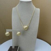 Yuminglai, oro italiano, 24K, conjuntos de bisutería de Dubai, collar y pendientes FHK6695