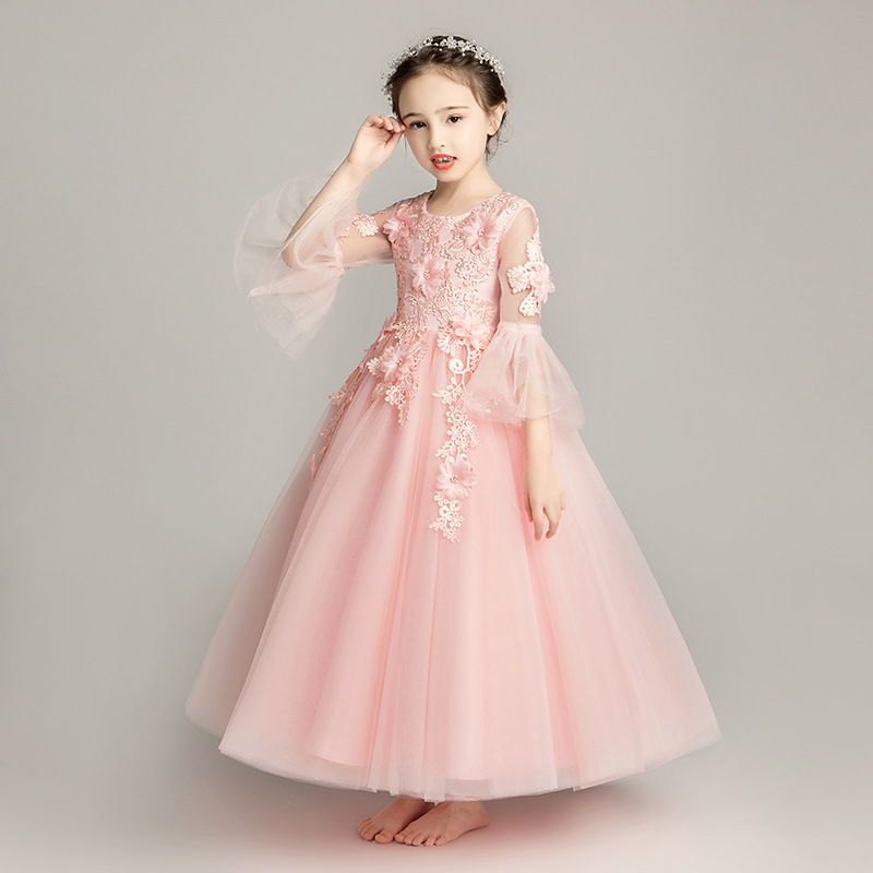 Girls Pink Princess Dress Flower Boys/Flower Girls Wedding Dress Puffy Yarn CHILDREN'S Performance Wear Small Host Birthday Even
