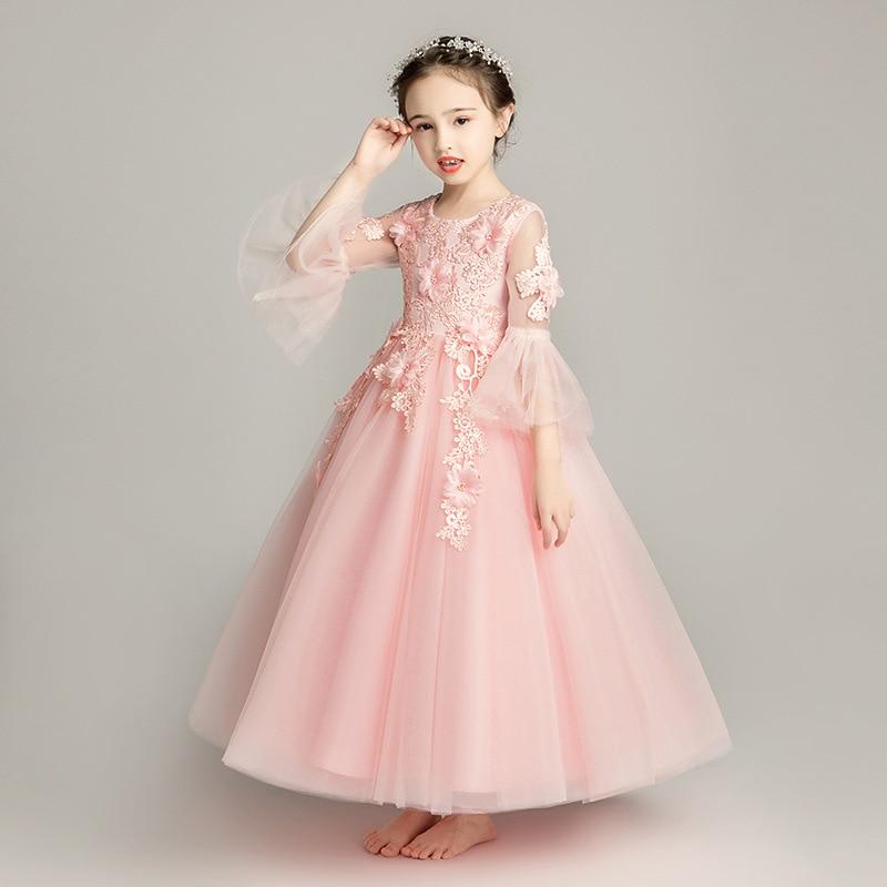 Girls Pink Princess Dress Flower Boys/Flower Girls Wedding Dress Puffy Yarn CHILDREN'S Performance Wear Small Host Birthday Even