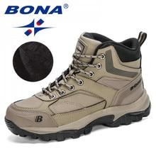 BONA 2020 New Designers Nubuck Hiking Boots Men Winter Shoes Walking Climbing Mountain Sport Boots Man Plush Warm Snow Footwear