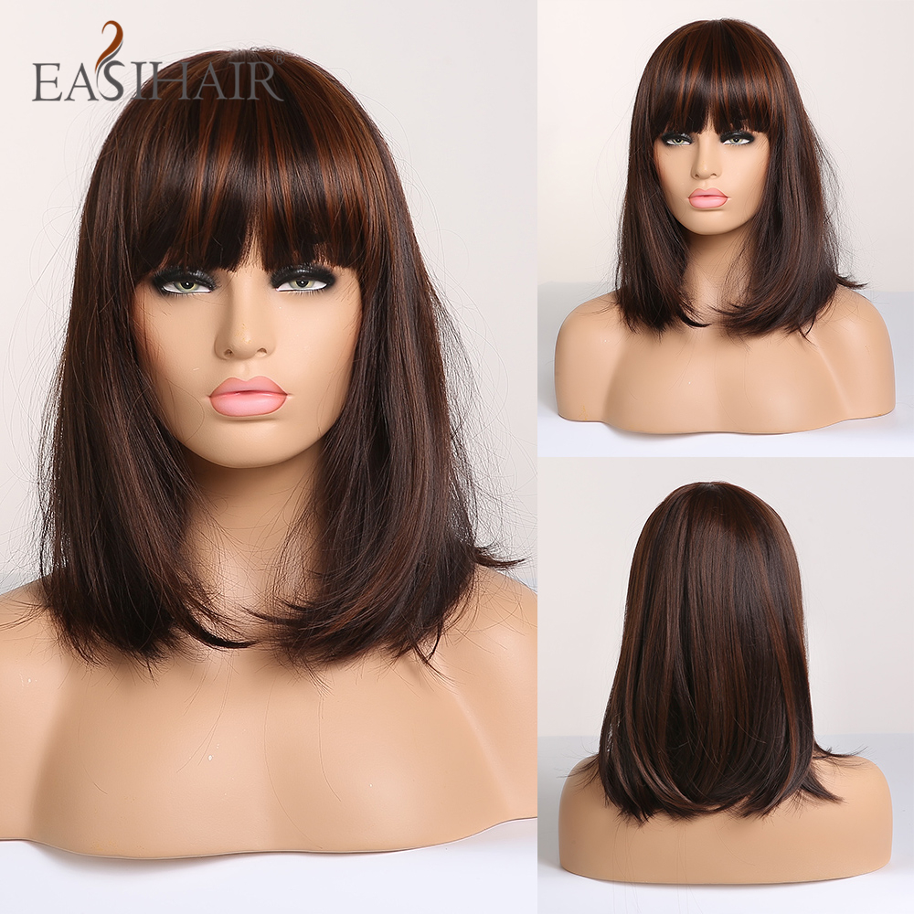 EASIHAIR Dark Brown Straight Synthetic Wigs With Bangs For Women Medium Length Bob Wig Heat Resistant Wig High Temperature Fiber