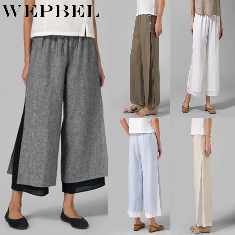 WEPBEL Trousers Wide Leg Pants Women's Fashion Loose Wild Comfortable Double Layer Retro Cropped Pants
