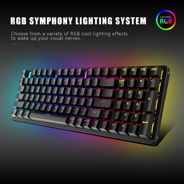 RedThunder Red Switch Mechanical-Keyboard 98-Key New Layout Gaming-Keyboard Up to 15 Cool Lighting Effects Designed for Games 2