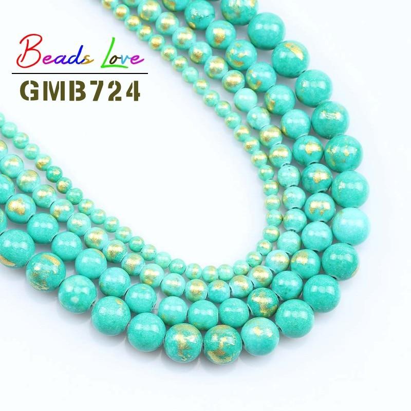 Naturalne z kamieniem niebieski zielony złoty kolor Jades koraliki 4/6/8/10MM okrągłe luźne koraliki do tworzenia biżuterii Diy bransoletka naszyjnik 15 cali