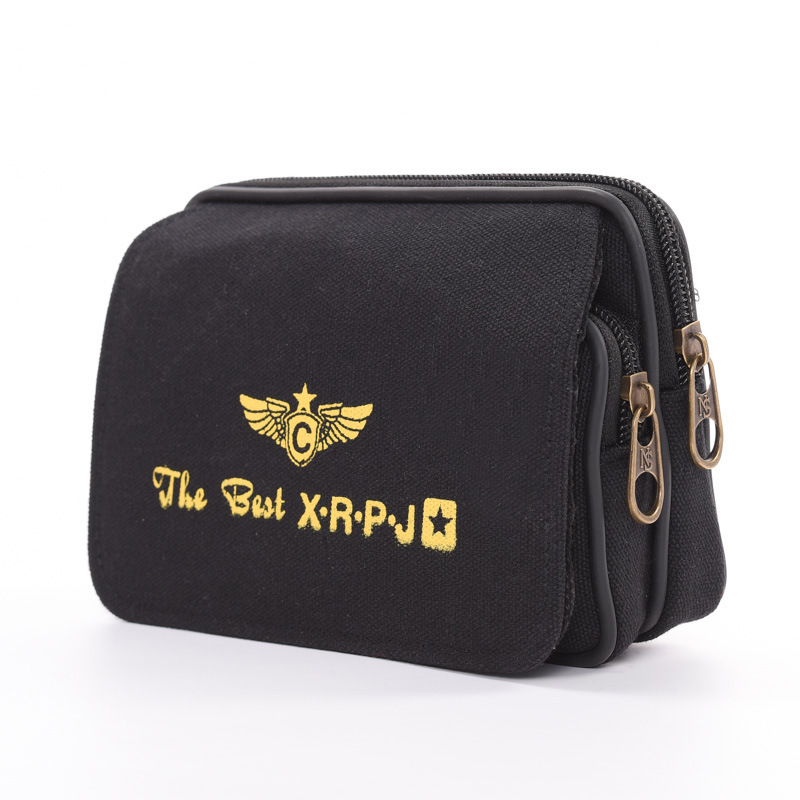 Cross Business Pannier Bag Men Canvas Waist Pack New Style Velcro Bag Thin Washing Double Layer Wallet