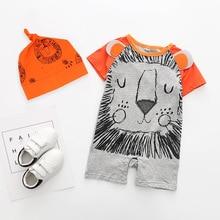 купить Newborn Baby Boy Cartoon Suit Short Sleeve Romper + Hat Infant Set Baby Girl Jumpsuit Outfits Clothes Spring Summer Clothing по цене 623.31 рублей
