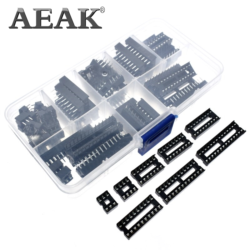 AEAK 66 teile/los <font><b>DIP</b></font> IC Steckdosen Adapter Solder Typ Sockel Kit 6 8 14 <font><b>16</b></font> 18 20 24 28 40 pin <font><b>DIP</b></font>-8 <font><b>16</b></font>-Pins DIP8 DIP16 IC Stecker image
