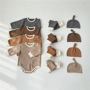 Новинка, осенняя одежда для детей комбинезон для младенцев мальчиков девочек топы + Штаны + шапочка, 3 предмета в комплекте, зимняя детская од...