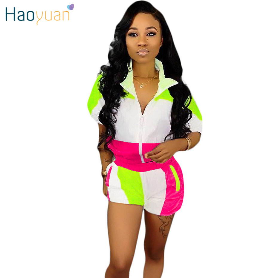 HAOYUAN Plus Size Two Piece Set Festival Summer Clothes For Women Tracksuit Matching Sets Top And Biker Shorts 2 Piece Outfits