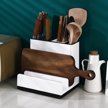 Soporte multifunción para cuchillos tabla de cortar estante de Almacenamiento de suministros de cocina integrado tabla de cortar palillos Pot Cover cuchillo