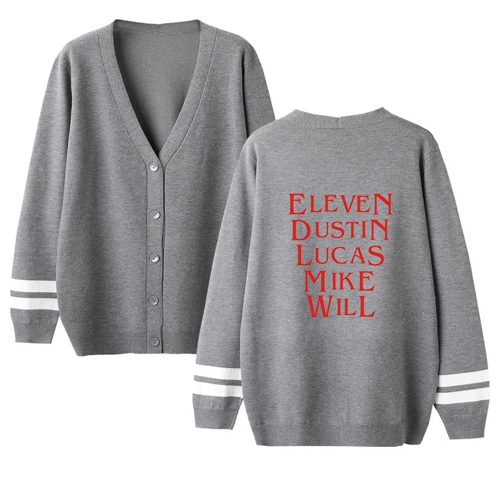 Stranger Things V-neck Cardigan Sweater Men/women Hot Fashion Gray Casual Harajuku Sweater Stranger Things Popular Casual Tops