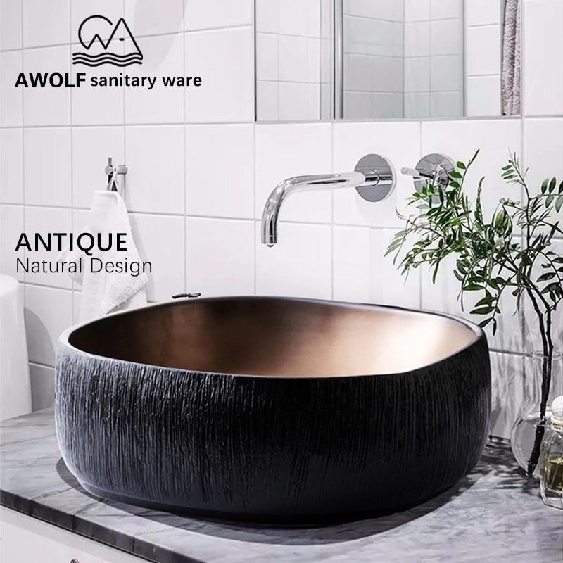 Navire en céramique Antique carré pierre Design Art éviers salle de bain lavabo bol au-dessus du comptoir lavataire balcon noir AM921