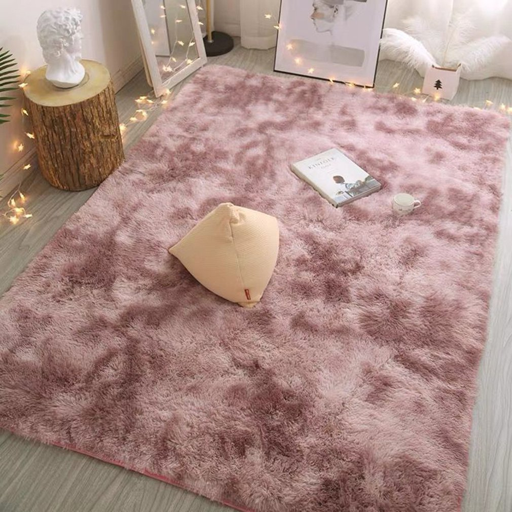 Nordic Lounge Fluffy Non-slip Mixed Dyed Carpet Bedroom Rugs Solid Color Plush Thickened Washed Silk Hair Non-Slip Blanket