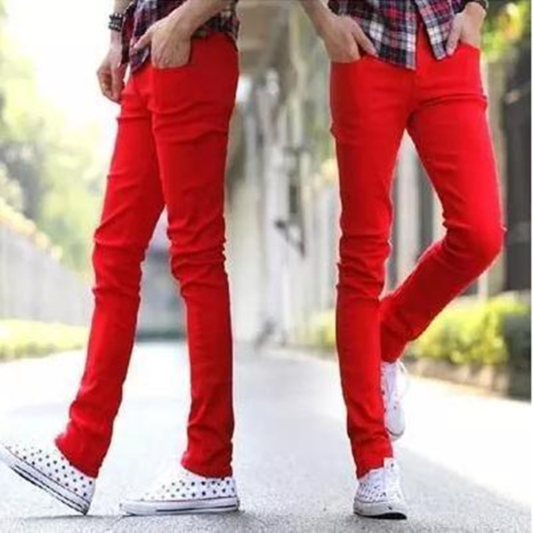 2018 Summer Wear New Products Jeans Men Slim Fit Solid Color Skinny Pants Men'S Wear Korean-style Red Casual Long Pants